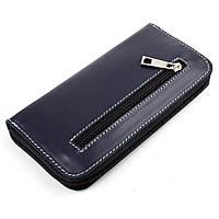 Женский кожаный кошелек на молнии LIKA (синий гладкий)