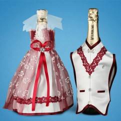 """Украшение для свадебного шампанского """"Бордо"""""""
