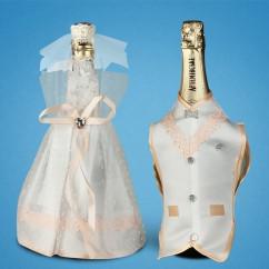 """Украшение для свадебного шампанского """"Персик"""""""