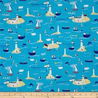 """Ткань для пэчворка и рукоделия американский хлопок """"Маяки и корабли синий"""" - 22*55 см"""