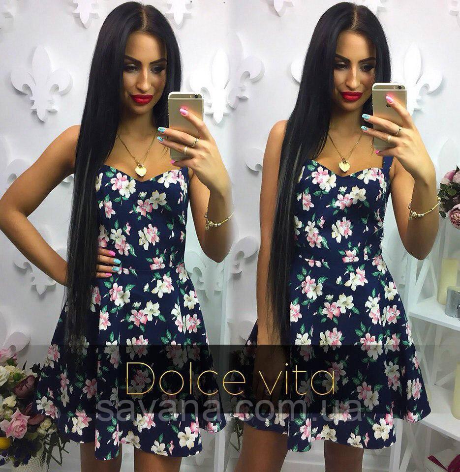 Женское льняное платье с цветами