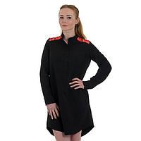 Черное платье с принтом Украинская модница