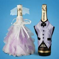 """Украшение для свадебного шампанского """"Сиреневый"""""""