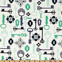 """Ткань для пэчворка и рукоделия американский хлопок """"Ключи на белом"""" - 22*55 см"""