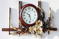 Горизонтальное панно с часами из натуральной кожи  и бамбука, фото 1
