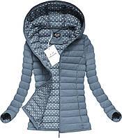 Куртка женская демисезонная с капюшоном стёганая в горох