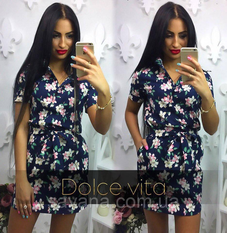 Женское красивое льняное платье с цветами, 2 цвета