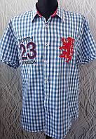 Рубашка в клетку голубая стильная