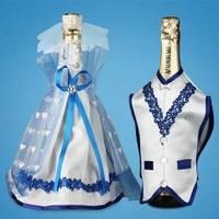 """Украшение для свадебного шампанского """"Синий"""""""