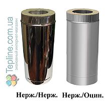 Труба дымоходная сэндвич d 120 мм; 0,8 мм; AISI 304; 50 см; нержавейка/оцинковка - «Версия Люкс», фото 3