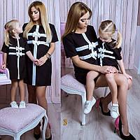 Платья мама - дочка. Одинаковые детское и женское нарядные платья с коротким рукавом.