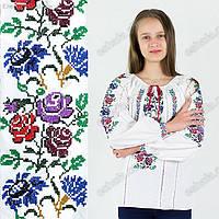 Яркая детская вышиванка с цветами Лесная Мавка