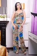 Жіночий літній комбинезон з квітами.Р-ри 42-50