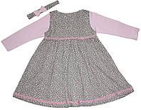 Летний костюм девочке: сарафанчик, кофточка и резиночка на голову, розово-кофейный, рост 92 см, ТМ Фламинго