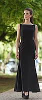 Чёрное вечернее платье в пол с открытой спиной