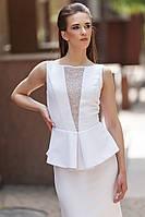 Белое вечернее платье в пол с баской