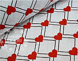 """Лоскут ткани №410а """"Красные сердечки с ромбами"""" , фото 2"""
