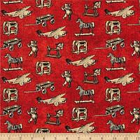 """Ткань для пэчворка и рукоделия американский хлопок """"Ретро игрушки на красном"""""""