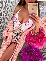 """Женский, сдельный купальник модного фасона с цветочным принтом """"Ажурное макраме"""" (бифлекс, вшитые чашки)"""