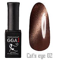 """Магнитный гель-лак GGA Professional """"Кошачий глаз"""" №02"""