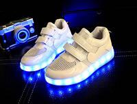 """Светящиеся кроссовки """"Белые сеточка"""" со светящиеся подошвой"""
