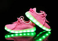 """Детские светящиеся кроссовки """"Розовые изи буст"""""""