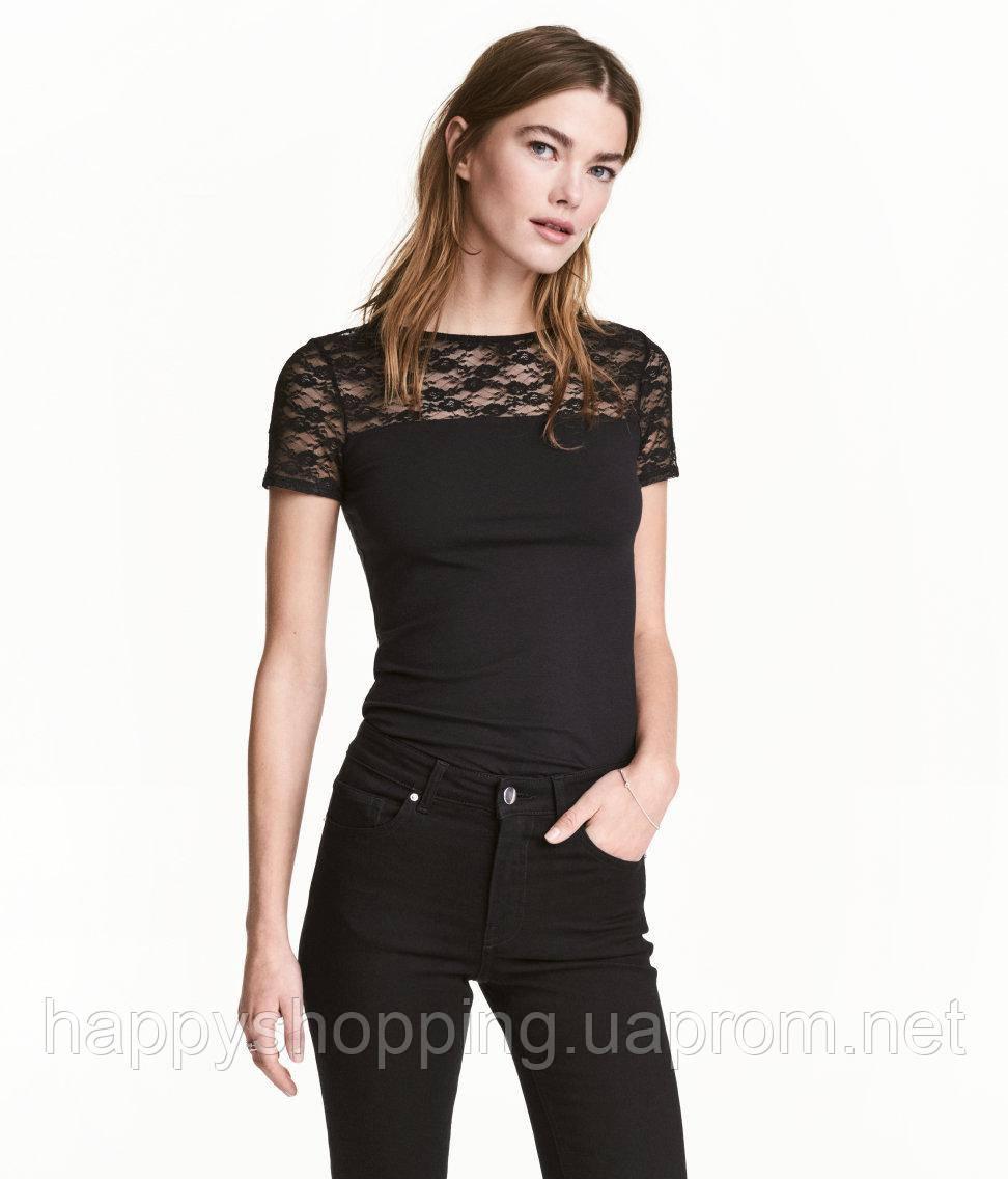 Черная ажурная футболка H&M