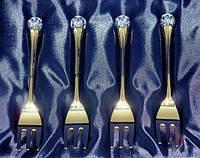 Набор десертных вилочек с хрустальным украшением. золотистые