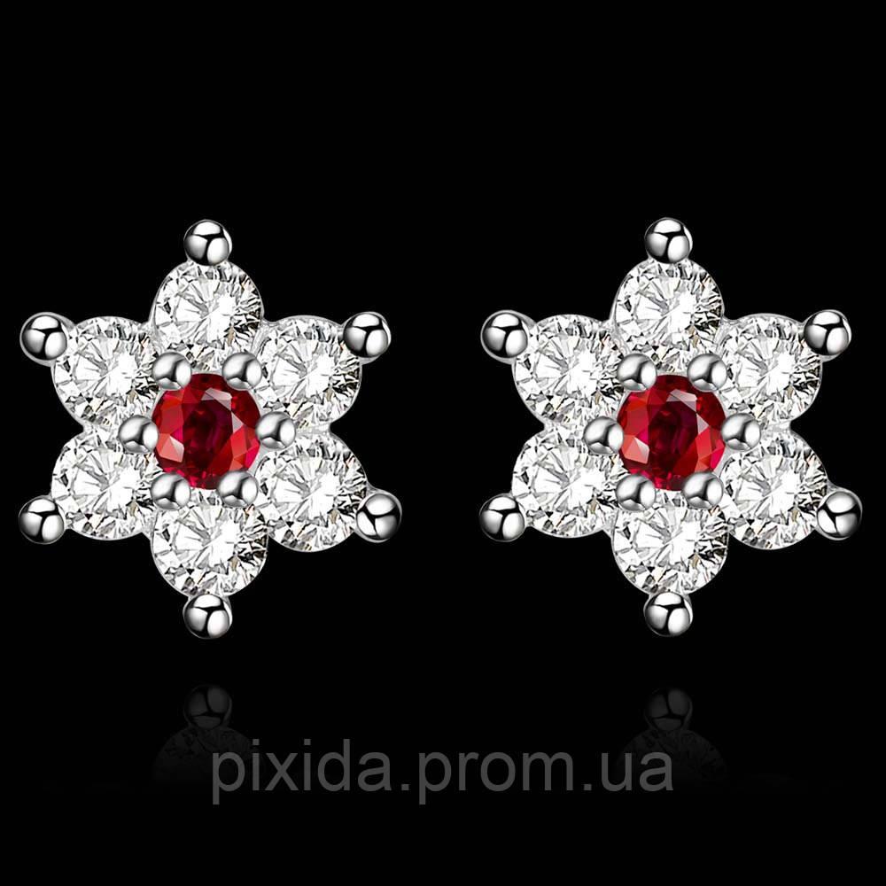Сережки-гвоздики Хрустальная звезда с алым цирконом