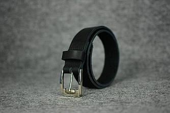Кожаный ремень под джинсы |10901| Черный