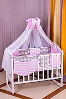 Детское постельное белье 8 элементов Babyroom Розовый - Серый (Совы) 100% хлопок 620794