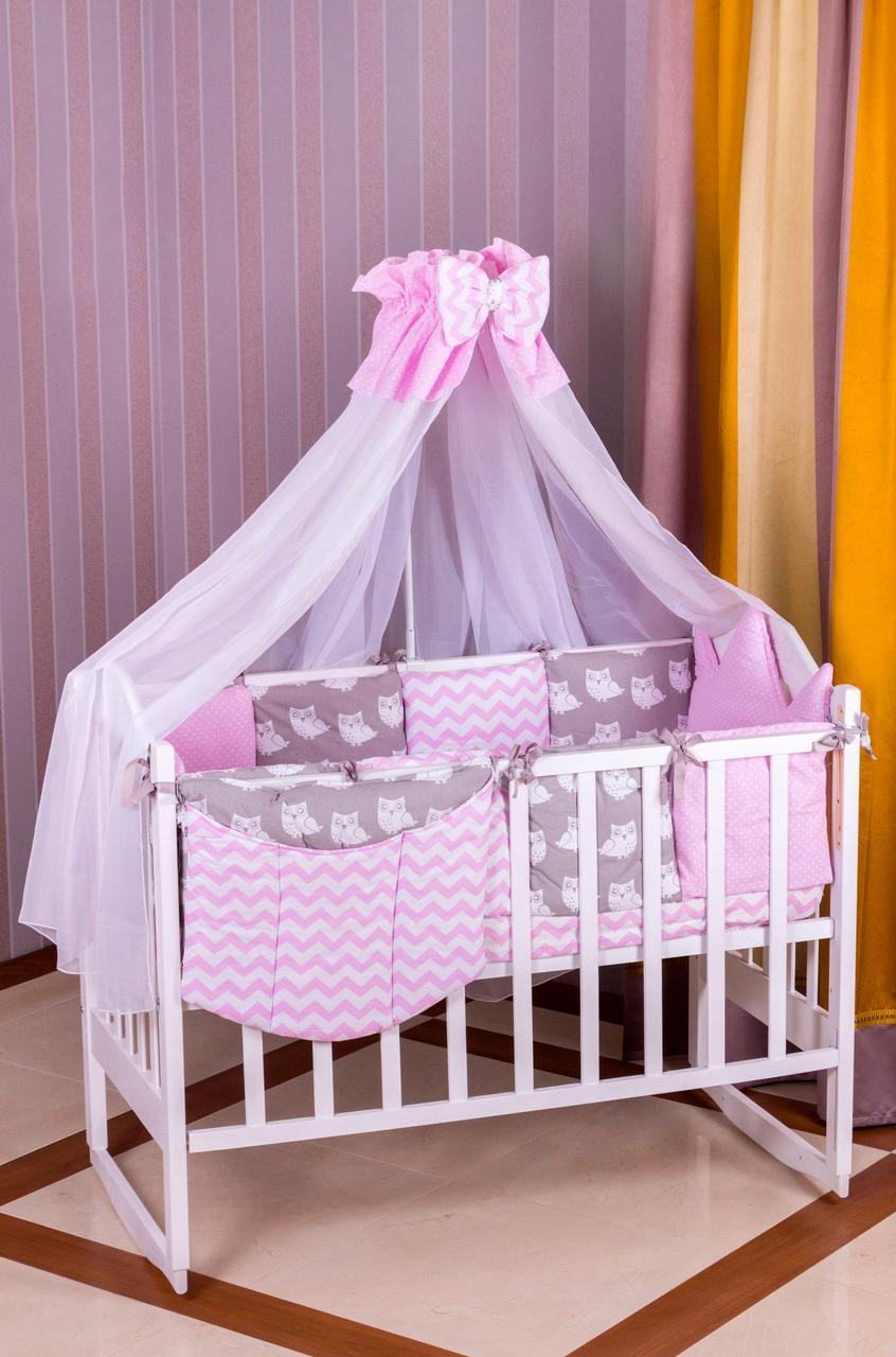 Детское постельное белье 8 элементов Babyroom Розовый - Серый (Совы) 100% хлопок 620794 - SVANS в Харькове