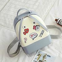 Силиконовый рюкзак с глазками серый