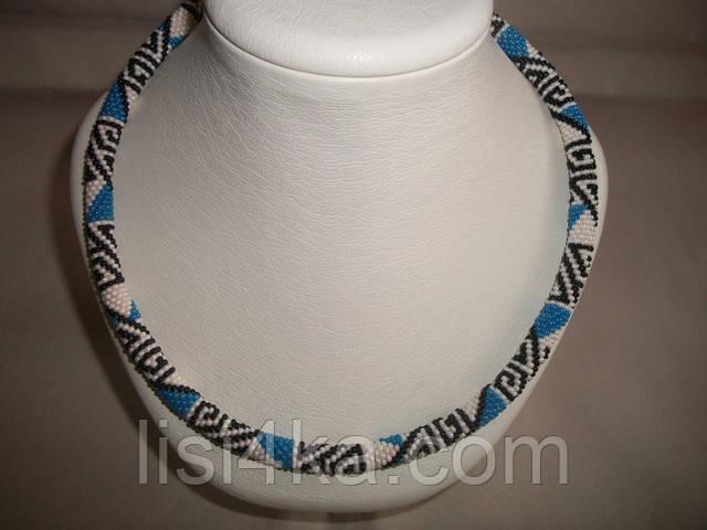 Вязаный из бисера узорный жгут колье с этническим африканским узором