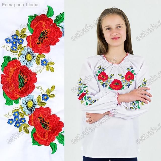 Детская вышиванка с маками и ромашками