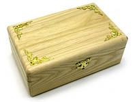 Шкатулка с золотыми уголками, массив дерева (20,5х13х7,5) (26067)