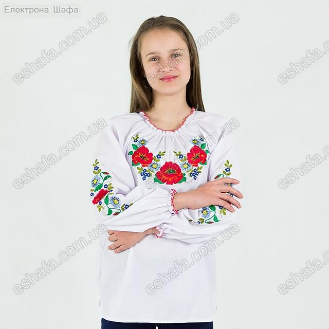 Дитяча вишиванка з маками та волошками