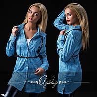 Туника-рубашка с портупеей голубая клетка