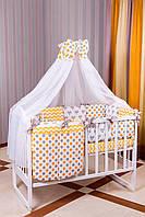 Детское постельное белье 8 элементов Babyroom оранжевая - серая (лисички) 100% хлопок 620958