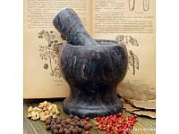 Ступка каменная, чёрный мрамор арт 9200011-1