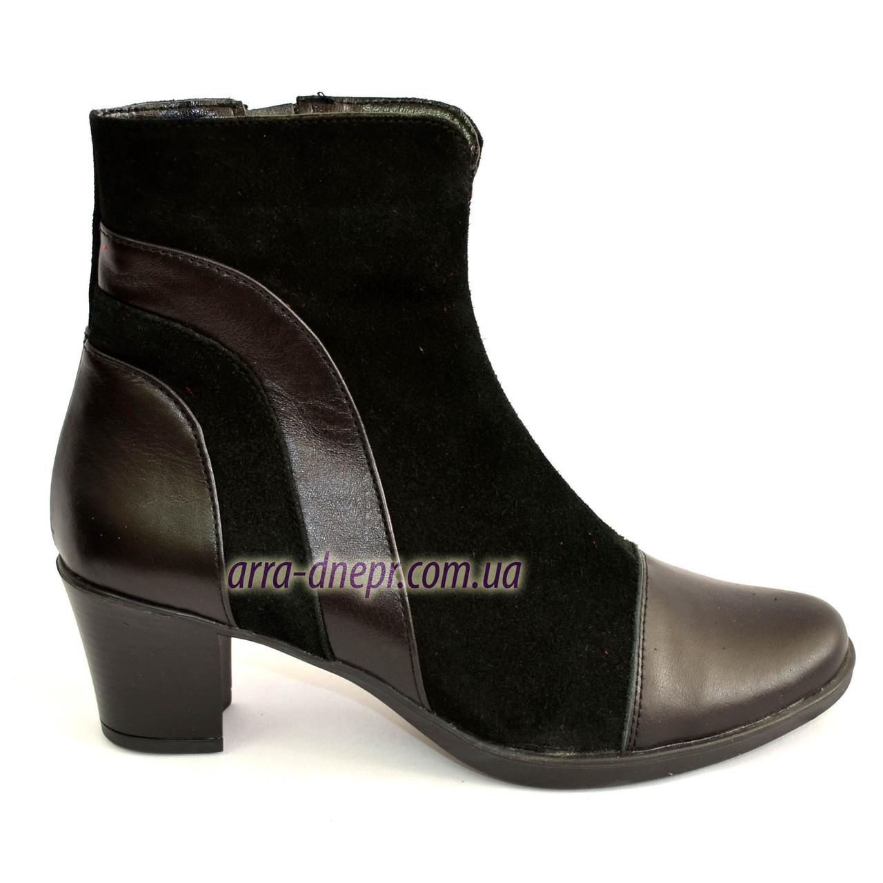 Женские демисезонные ботинки на невысоком устойчивом каблуке, натуральная кожа и замша