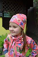 Детские двойные демисезонные шапка и хомут для девочки на весну, фото 1