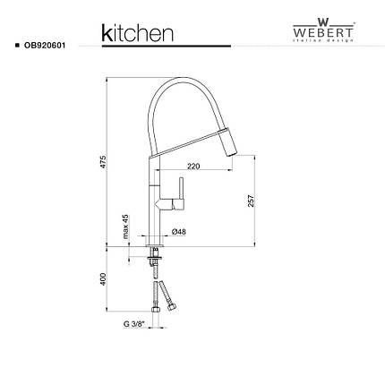 Смеситель кухонный Webert Kitchen OB920601, фото 2