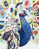 Раскраска на холсте без коробки Идейка Яркий павлин (KHO2492) 40 х 50 см
