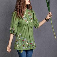 Женская зеленая туника вышитая