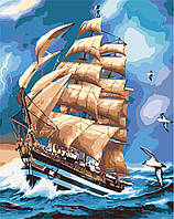 """Картина раскраска по номерам без коробки Идейка Парусник """"АмеригоВеспучи"""" (KHO2712) 40 х 50 см"""