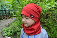 Детские демисезонные двойные шапки и хомуты на весну для мальчиков и девочек