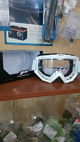 Мотоочки PROGRIP Маска / очки кроссовые Белого цвета RACE LINE (CLEAR LENS) PG 3201