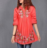 Блузка розовая нарядная с вышивкой