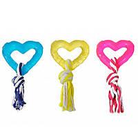 Игрушка Karlie-Flamingo Good4Fun Hart With Rope для собак резина, 8 см